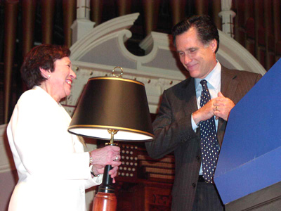 Roberta Schaefer with Mitt Romney